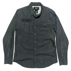 Harley Davidson Mens L Long Sleeve Snap Shirt Gray